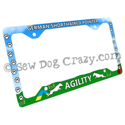 German Shorthaired Pointer Agility License Plate Frame