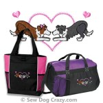 Embroidered Border Collie Bags