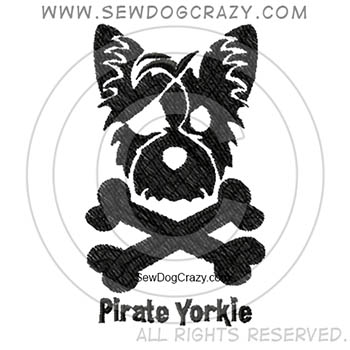 Embroidered Pirate Yorkie Shirts