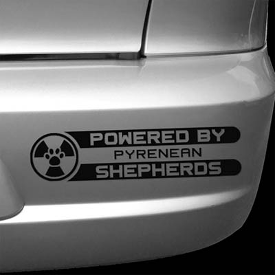 Powered by Pyrenean Shepherds Car Decal