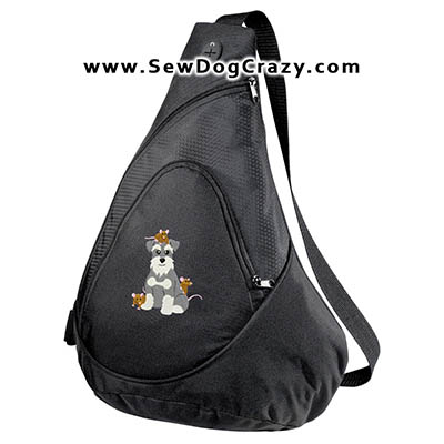 Schnauzer with Rats embroidered Bag