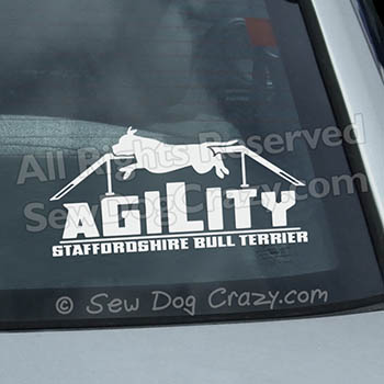 Staffie Agility Dog Walk Vinyl Sticker