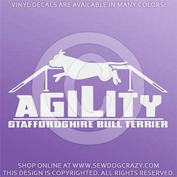 Staffie Agility Dog Vinyl Decal