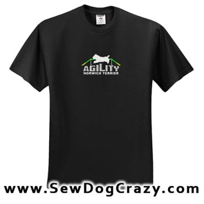 Embroidered Norwich Terrier Agility Tshirt