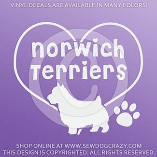Love Norwich Terriers Decals