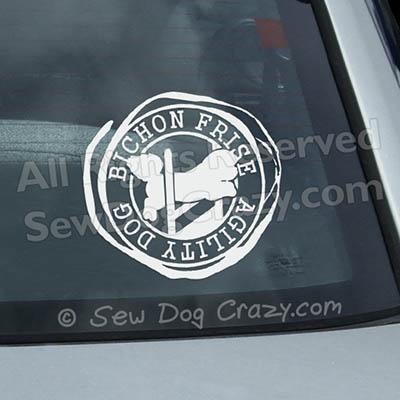 Bichon Frise Agility Car Window Stickers