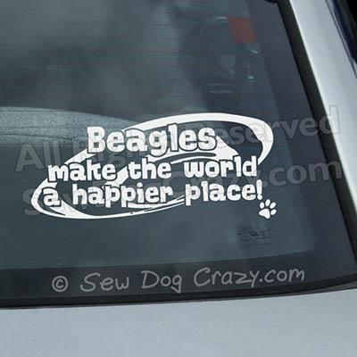 Happy Place Beagle Car Window Stickers