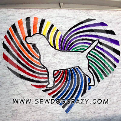 Rainbow Beagle Heart Embroidered Gifts