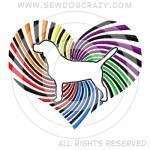Rainbow Beagle Heart Embroidered Shirts