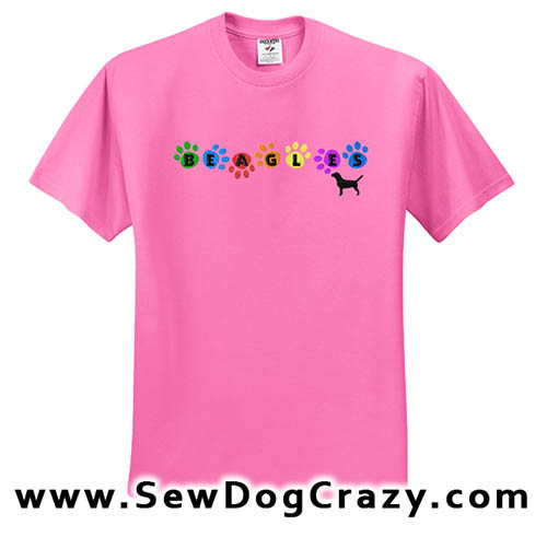 Embroidered Rainbow Beagle Tshirts