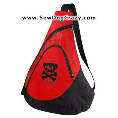 Embroidered Pirate Pug Bags