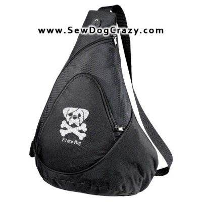 Embroidered Pug Pirate Bags