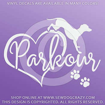 Love Dog Parkour Car Window Sticker