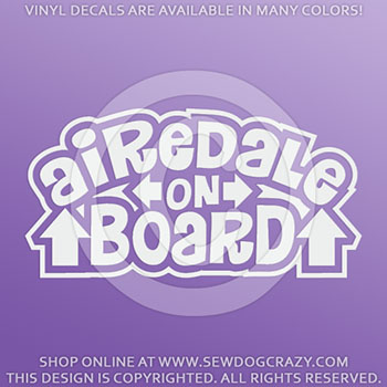 Airedale On Board Vinyl Stickers