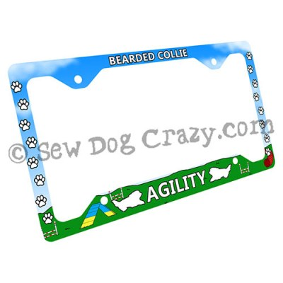 Bearded Collie Agility License Plate Frame