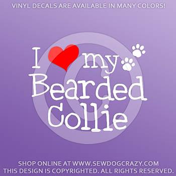 I Love my Bearded Collie Vinyl Decals