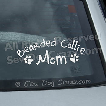 Bearded Collie Mom Car Window Sticker
