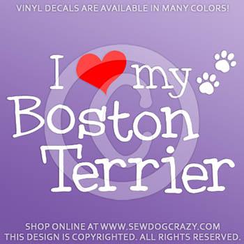 I Love my Boston Terrier Vinyl Decal
