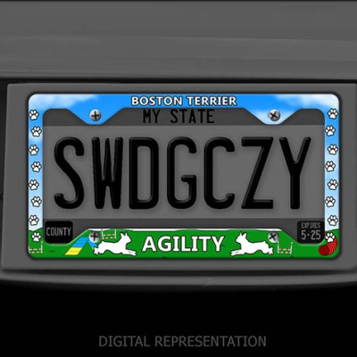 Boston Terrier Agility License Plate Frame