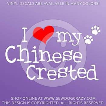 I Love my Chinese Crested Vinyl Decals