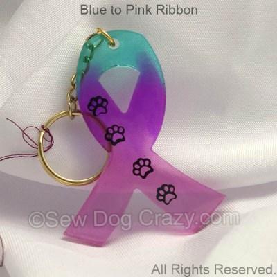 Pastel Dog Cancer Ribbon Keychain