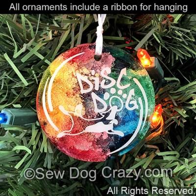Rainbow Disc Dog Christmas Ornaments
