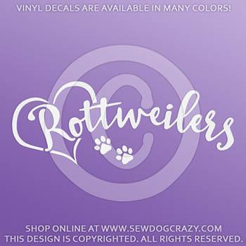Love Rottweilers Vinyl Decal