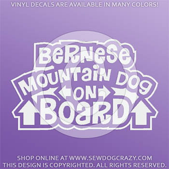 Bernese Mountain Dog On Board Vinyl Stickers