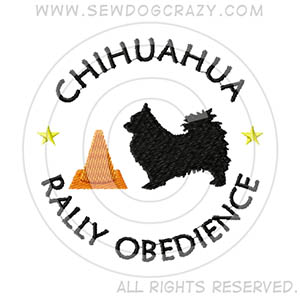 Embroidered Long Haired Chihuahua Rally Obedience Shirts