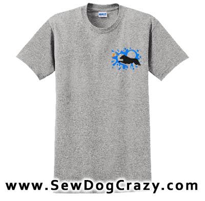 Embroidered Miniature American Shepherd Dock Jumping Tshirt