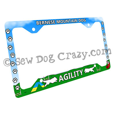 Bernese Mountain Dog Agility License Plate Frame