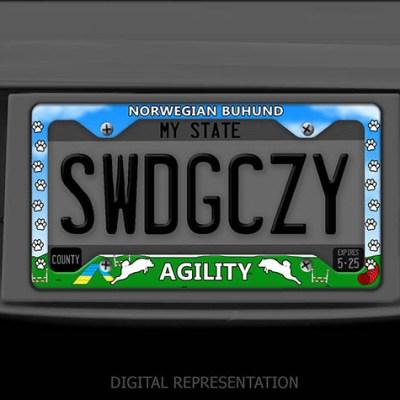 Norwegian Dog Buhund Agility License Plate Frame