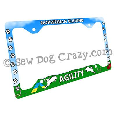 Norwegian Buhund Agility Dog License Plate Frame