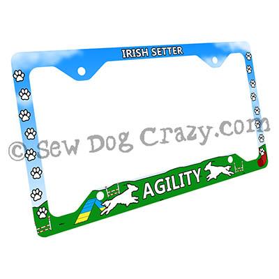Irish Setter Dog Agility License Plate Frame