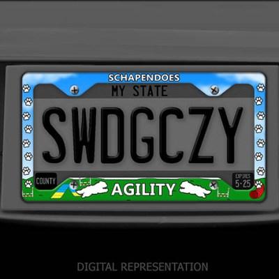 Schapendoes Agility Dog License Plate Frame