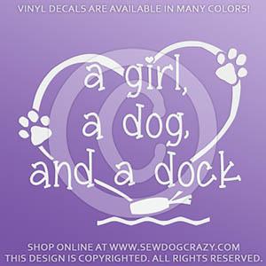 Girl Dog Dock Diving Vinyl Stickers
