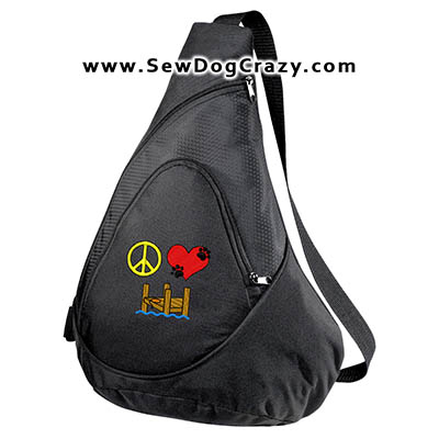 Embroidered Peace Love Dock Diving Bag