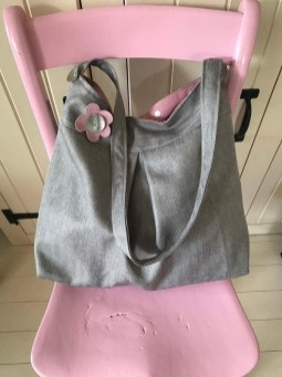Tweed Pleated Tote with Applique Flower