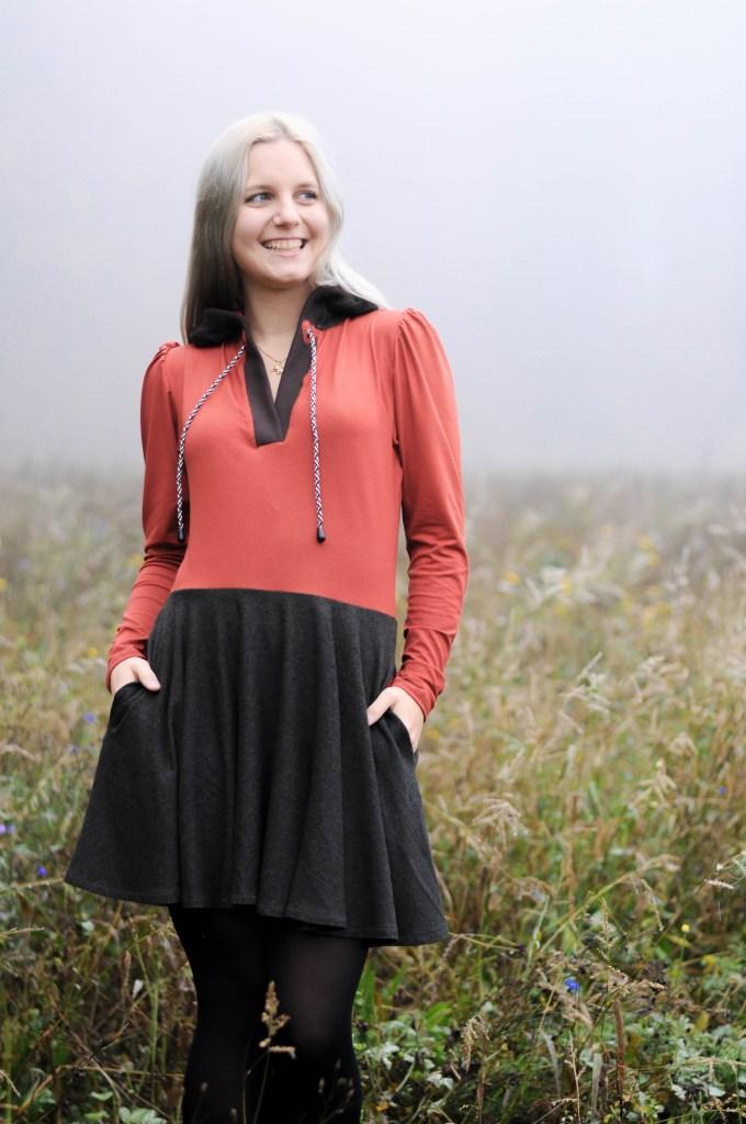 brown & grey fashion dress