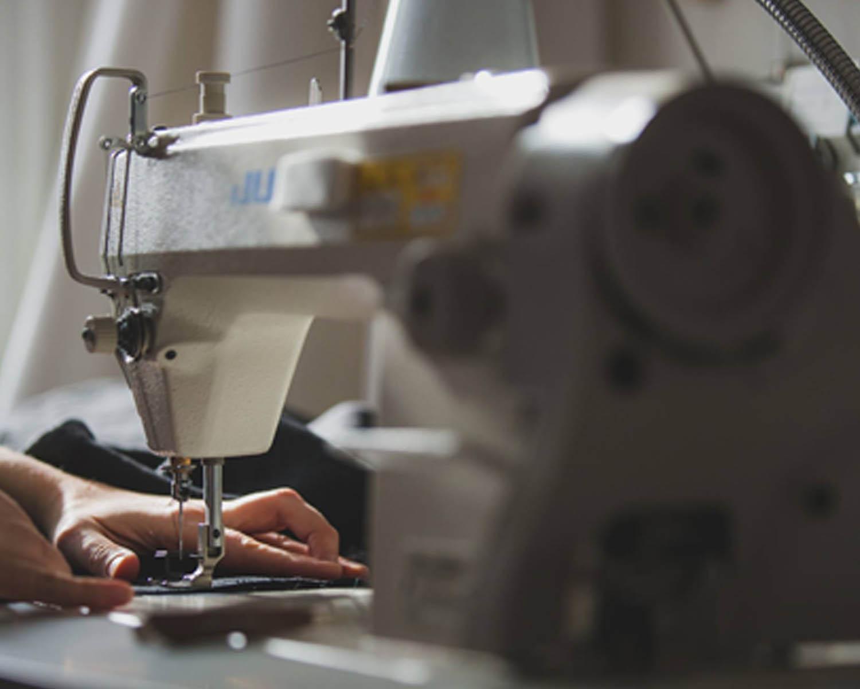 Close up of sewing machine