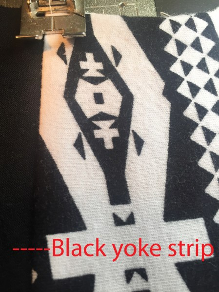 topstitching the black strip