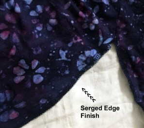 Serged Edge Finish