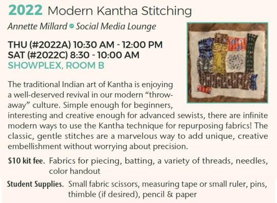 Sewing & Stitchery Expo class 2022