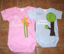 Free template: Big and little brother or sister appliqued onesies ...