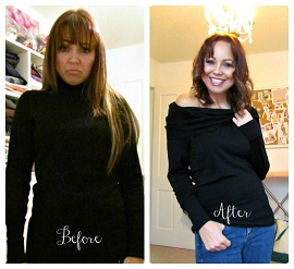 Tutorial: Off-the-shoulder cowl sweater refashioned from two turtlenecks