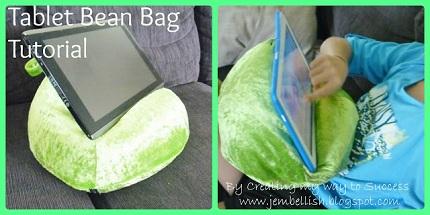 Tablet bean bag collage labelled