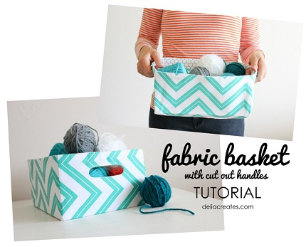 Tutorial: Fabric basket with cut out handles