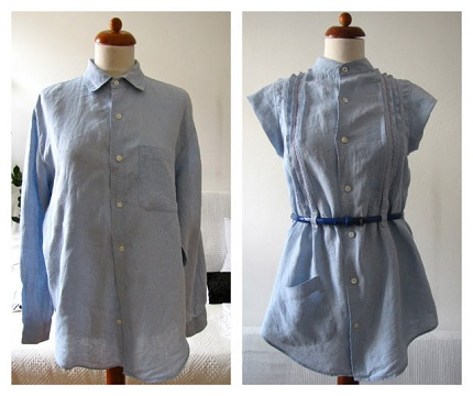 Tutorial: Pintucked blouse refashioned from a man's button up shirt