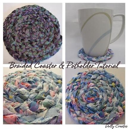 Tutorial: Braided fabric coaster or pot holder