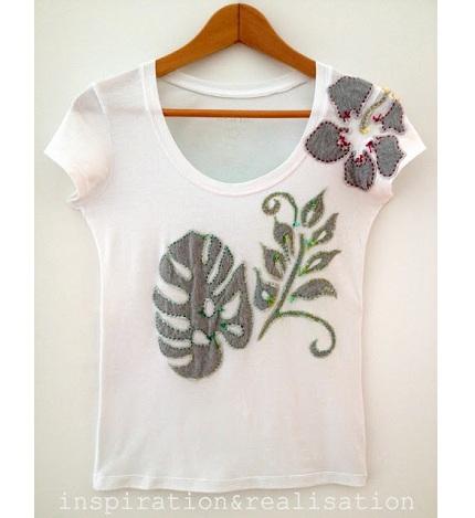 Tutorial: Tropical handstitched applique t-shirt